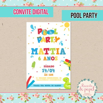 Convite Pool Party - DIGITAL
