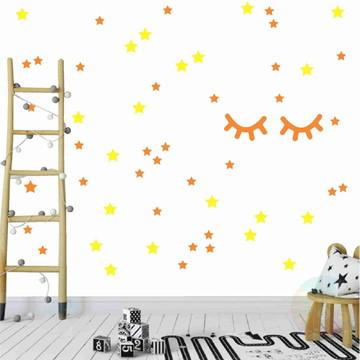 Adesivo cílios e estrelas laranja e amarelo milano 2
