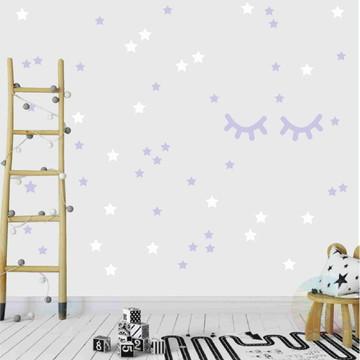 Adesivo cílios e estrelas lilás e branco 1