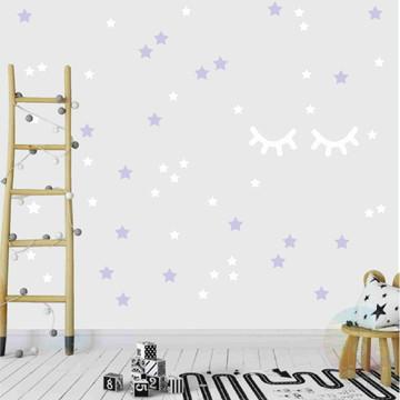 Adesivo cílios e estrelas lilás e branco 2