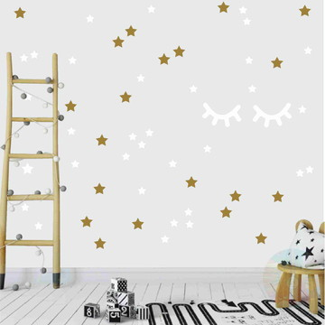 Adesivo cílios e estrelas ouro e branco 2
