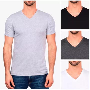 ba3d5c1475 Camiseta Gola V 100% Algodão Sem Estampa Fio 30.1 Lisa Cor