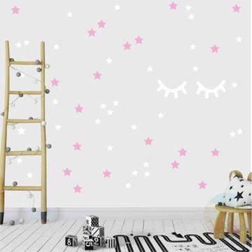 Adesivo cílios e estrelas rosa e branco 2
