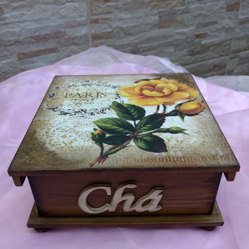 Porta Chá em mdf decorado