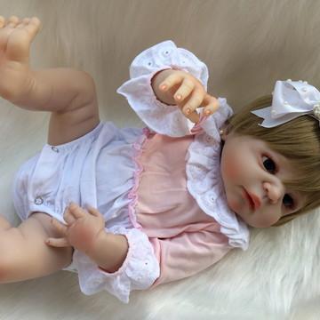Boneca Bebe Reborn Loira Olhos Azuis