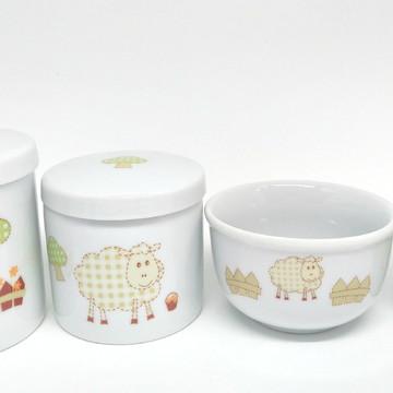 Kit Higiene Bebê Porcelana   Ovelhinha Bege  4 peças