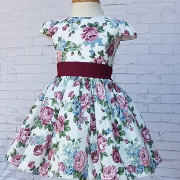 Vestido Floral Festa Daminha Florista - Floral Marsala