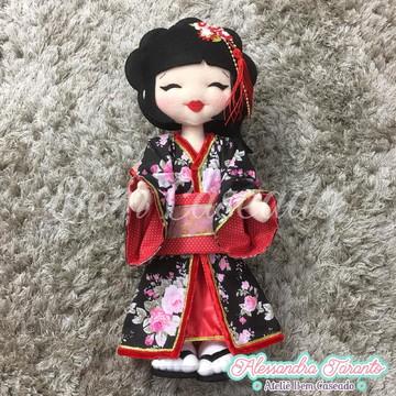 Boneca Japonesa - vermelho e preto