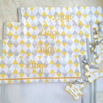 Saquinho de Maternidade amarelo e cinza