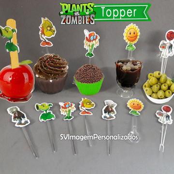 Topper colher ou palito p/ doce ou cupcake Plants vs Zombies