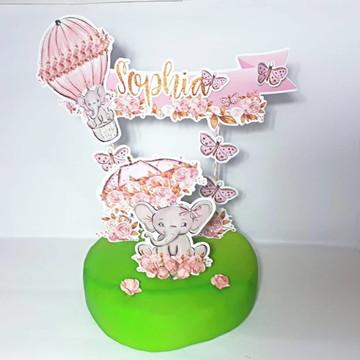 Topo de bolo elefantinho rosa luxo