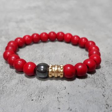 Pulseira Pedra Howlite Red Gold