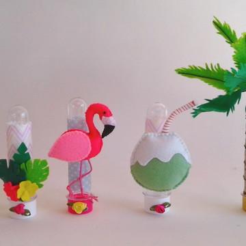 Tubete Flamingo, Abacaxi, Coqueiro e Côco em feltro