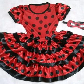 Vestido Fantasia LadyBug / Joaninha + Máscara de 1 a 8anos