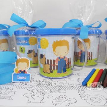 Lembrancinha Fazendinha - Caneca com kit colorir 4