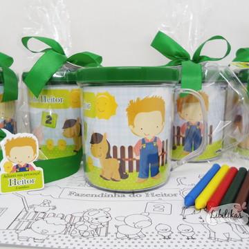 Lembrancinha Fazendinha - Caneca com kit colorir 3