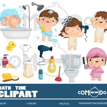 Kit Digital Comodo Hora Do Banho Educativo Infant Clipart 55