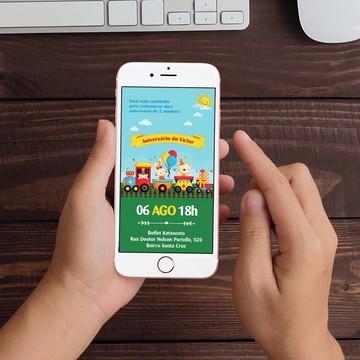 Convite Digital Trenzinho Bichinho WhatsApp Infantil