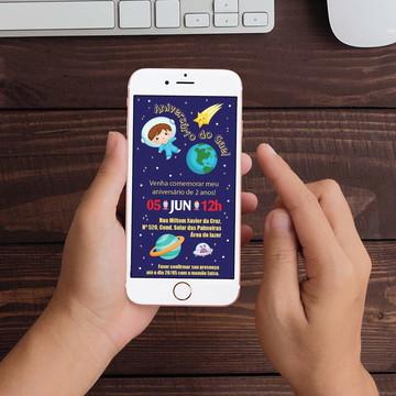 Convite Digital Astronauta Menino WhatsApp Infantil