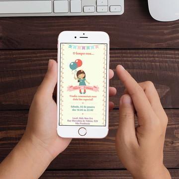 Convite Digital Menina Balão WhatsApp Infantil