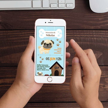 Convite Digital Pet Cachorro Pug WhatsApp Infantil