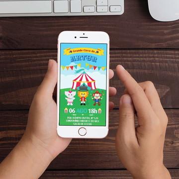 Convite Digital Circo Bichinhos WhatsApp Infantil