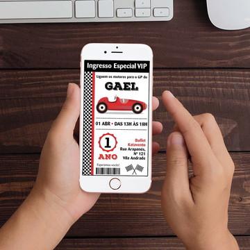 Convite Digital Corrida Carro retrô WhatsApp Infantil