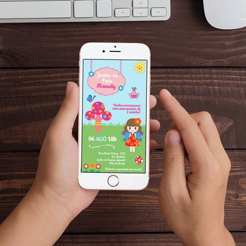 Convite Digital Jardim das Fadas WhatsApp Infantil