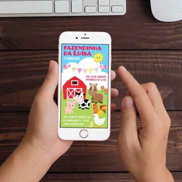 Convite Digital Fazendinha Bichinhos WhatsApp Infantil