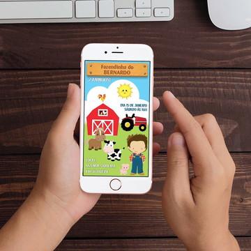 Convite Digital Fazendinha Meninos WhatsApp Infantil