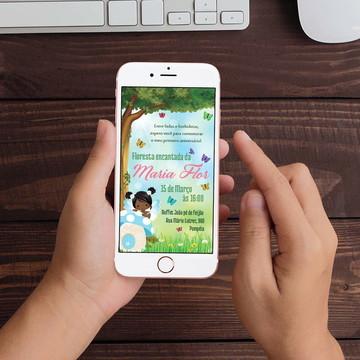 Convite Digital Floresta Encantada Fada WhatsApp Infantil