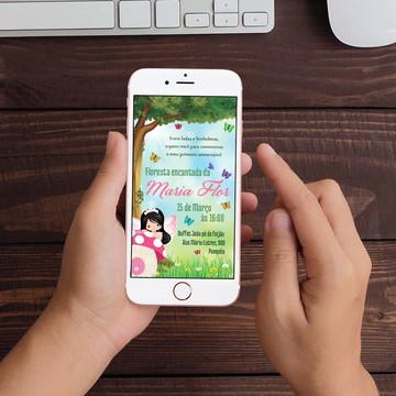 Convite Digital Floresta das Fadas WhatsApp Infantil
