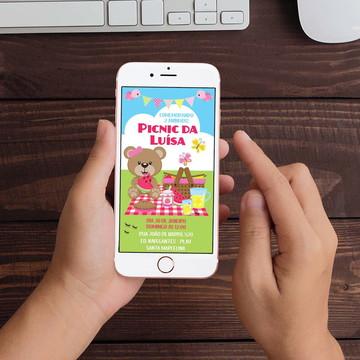 Convite Digital Picnic Ursinha WhatsApp Infantil