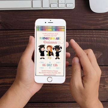 Convite Digital Formatura Infantil WhatsApp Infantil
