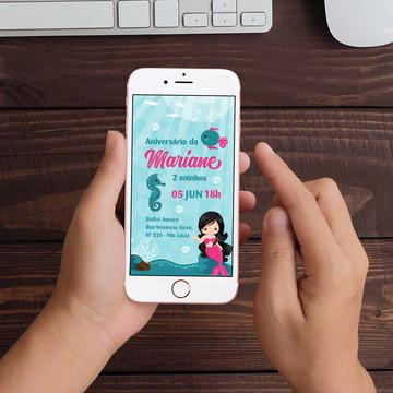 Convite Digital Sereia Fundo do mar WhatsApp Infantil