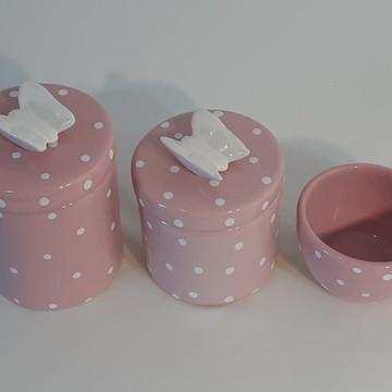 Potes de Porcelana para Kit Higiene Rosa