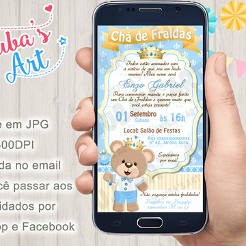 Convite Digital Chá de Fraldas Urso Príncipe para Whatsapp