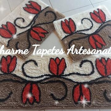 Jogo de tapetes decoração da cozinha tulipa vermelha frufru