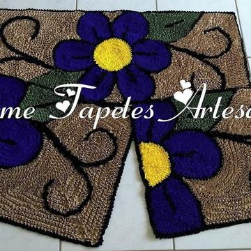 Tapetes para decoração da cozinha flores azuis
