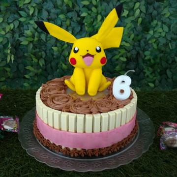Topo de Bolo Pikachu de Feltro - Pokemon