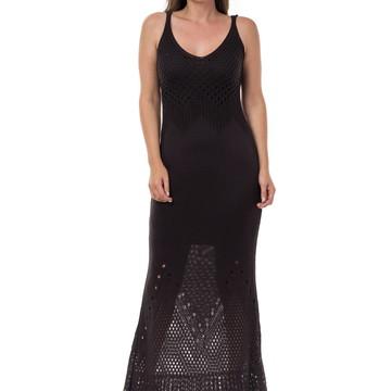 Vestido Longo Feminino de Tricot Rendado Preto 04783