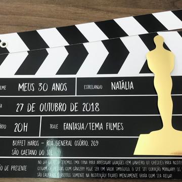 Convite claquete cinema oscar