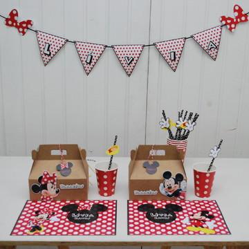 Kit Festa Infantil para Escola tema Minnie e Mickey