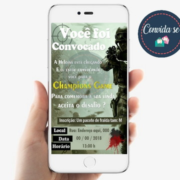 Convite -Champions Game - Chá fralda