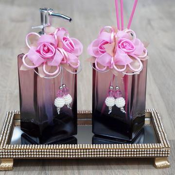 Conjunto para Lavabos em Vidro Retangular Degradê Rosa