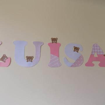 Bandeirola rosa com ursinhos