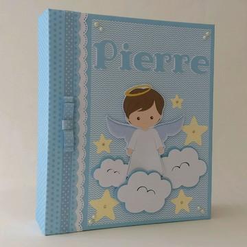 8113d162b Album Livro Diario do Bebe Scrapbook Anjinho Personalizado