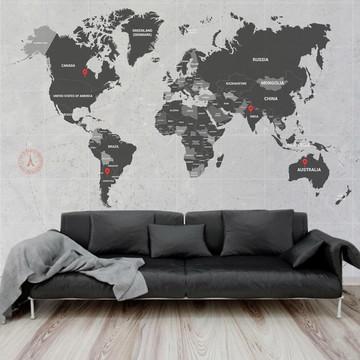 Mural Adesivo Mapa Mundi 3,48 x 3,00m