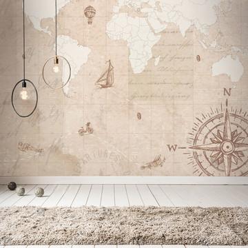 Mural Adesivo Mapa Mundi Vintage 3,48 x 3,00m