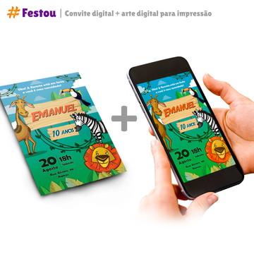 Convite virtual + Arte para impressão - Selva